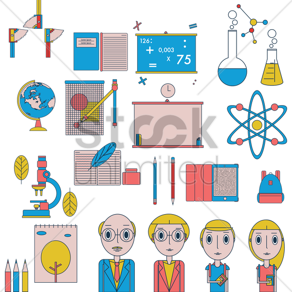 a collection of educational items vector graphic