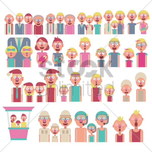 a collection of family activities vector graphic