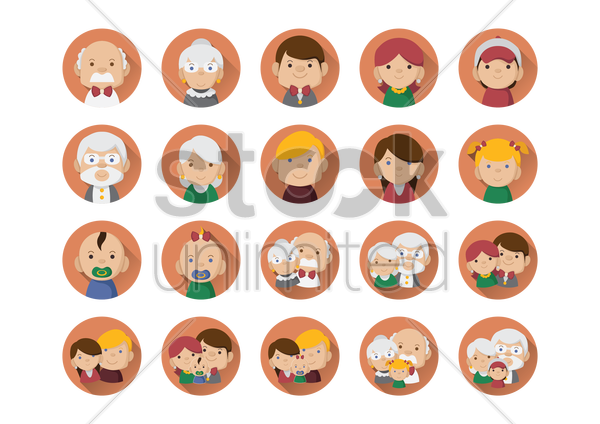 a collection of family members vector graphic
