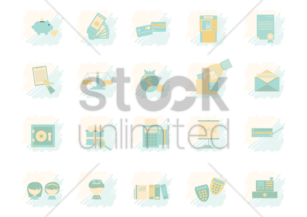 a collection of finance items vector graphic