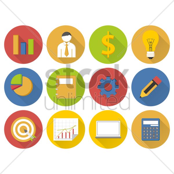 Free a collection of financial items vector graphic