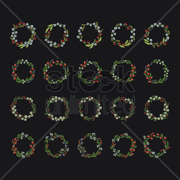 a collection of flower wreaths vector graphic