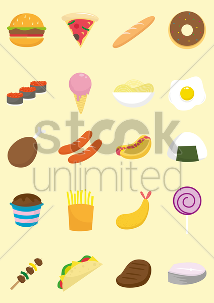 a collection of food items vector graphic