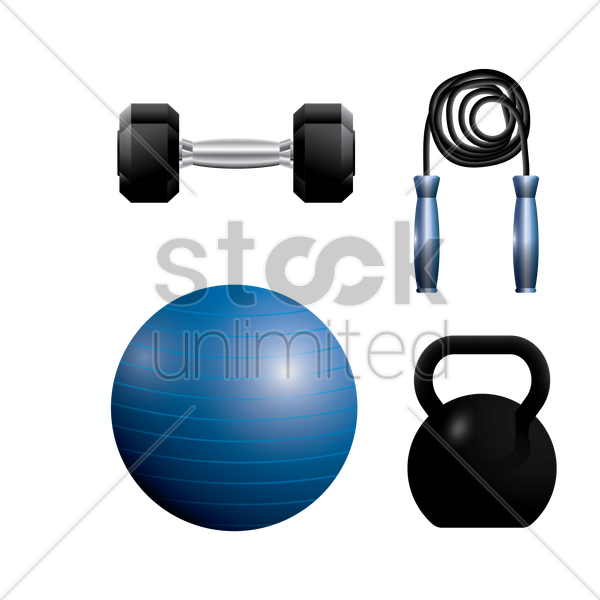 a collection of gym equipment vector graphic