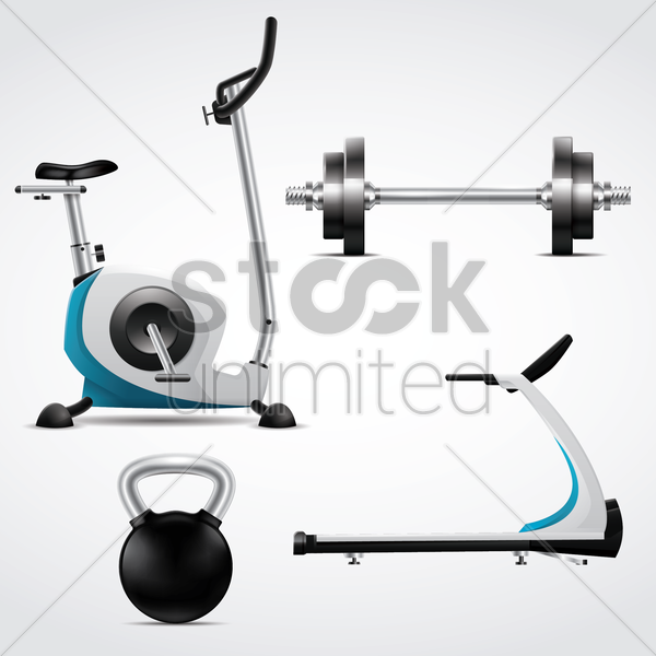 a collection of gym equipments vector graphic