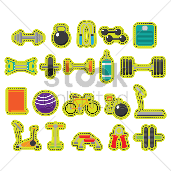 a collection of gym items vector graphic