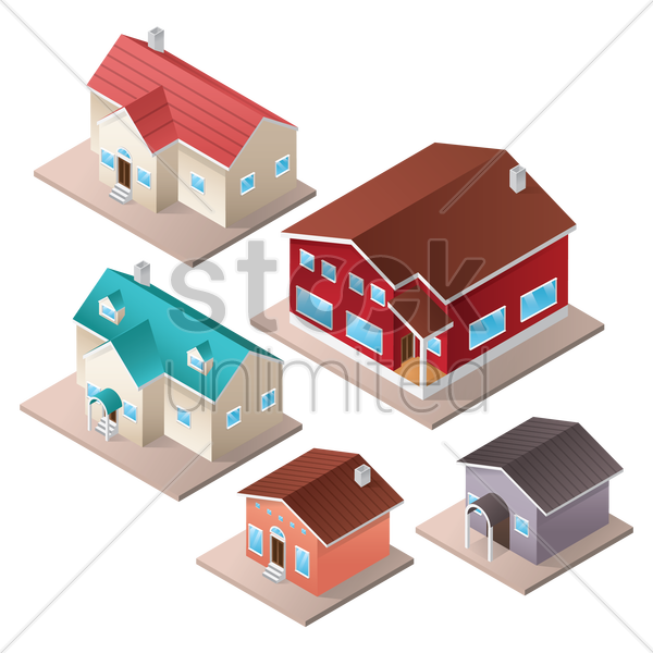 a collection of houses vector graphic