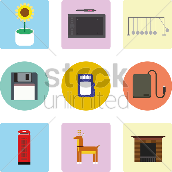 a collection of icons vector graphic