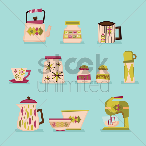 a collection of kitchen items vector graphic