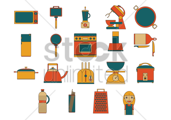 Free a collection of kitchen items vector graphic
