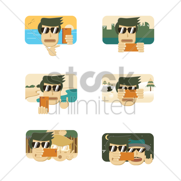Free a collection of man taking a selfie vector graphic
