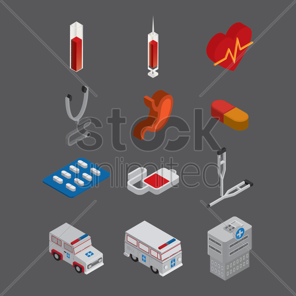 a collection of medical items vector graphic