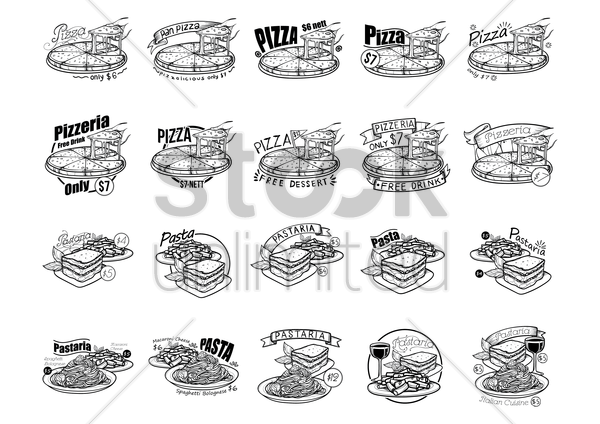 a collection of pizza and pasta menu titles vector graphic
