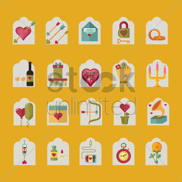 a collection of romantic items vector graphic