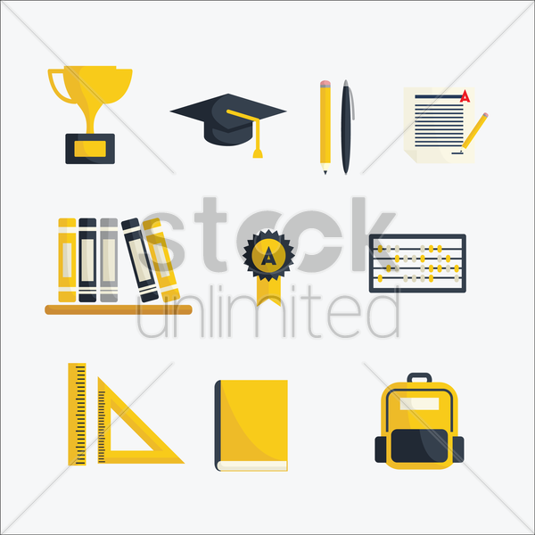 a collection of school items vector graphic