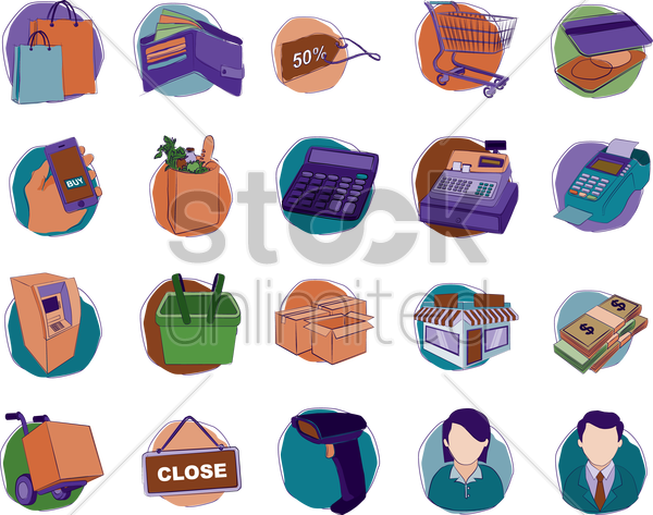 a collection of shopping items vector graphic