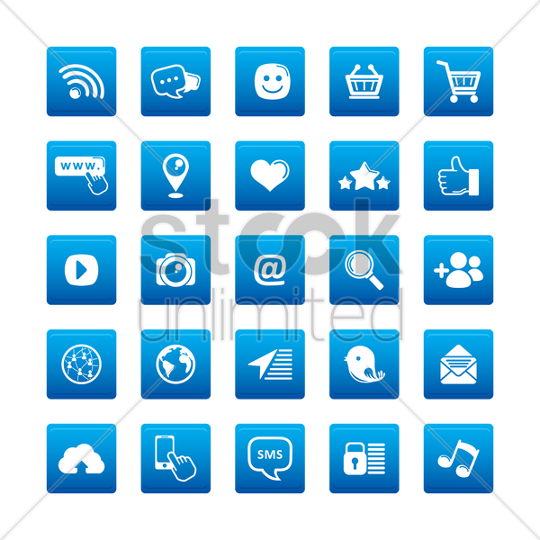 a collection of social media icons vector graphic