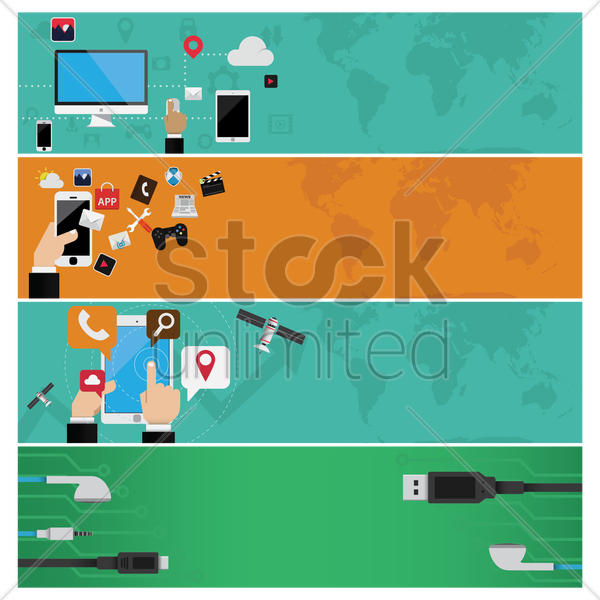 a collection of technological banners vector graphic
