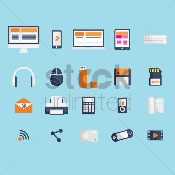 a collection of technological items vector graphic