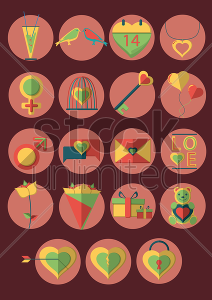 a collection of valentines items vector graphic