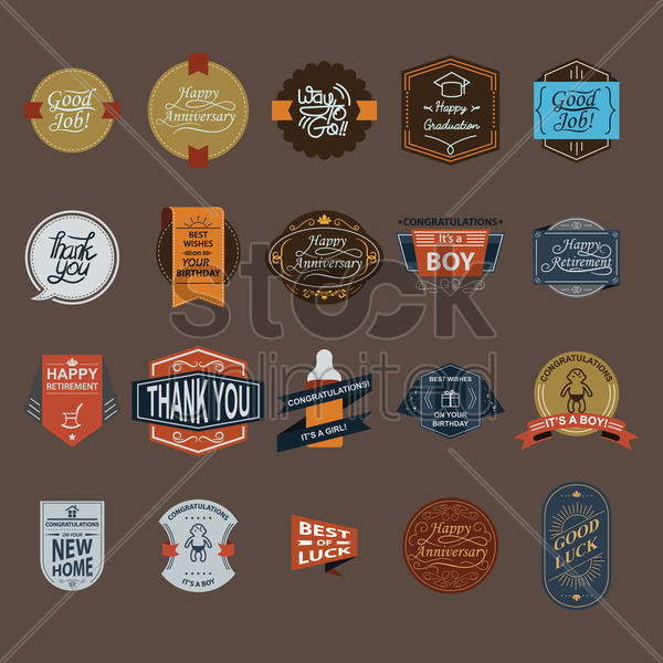 a collection of various labels vector graphic