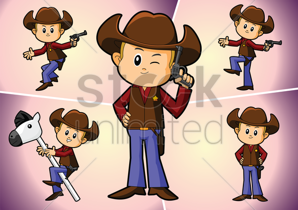 a cowboy in various pose vector graphic