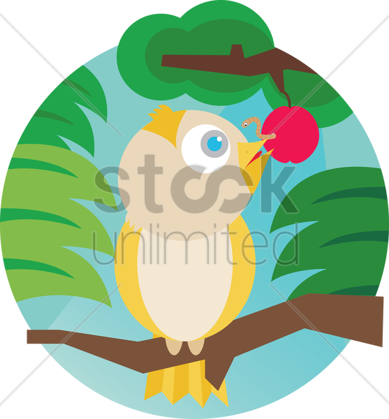 Free a cute yellow parrot on a tree vector graphic