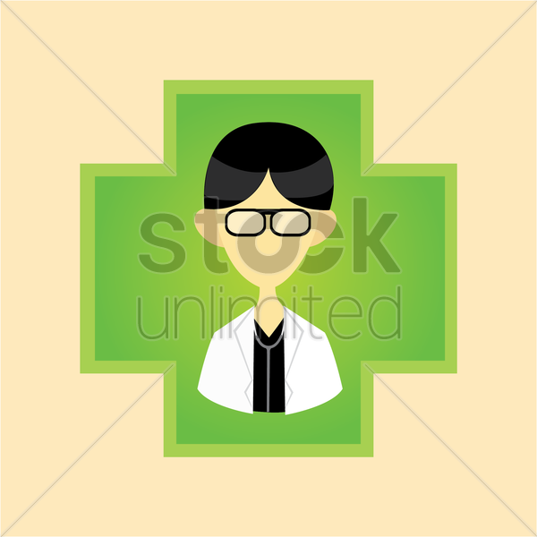 a doctor on a cross vector graphic