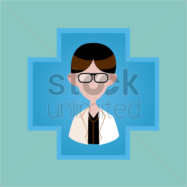 Free a doctor on a cross vector graphic