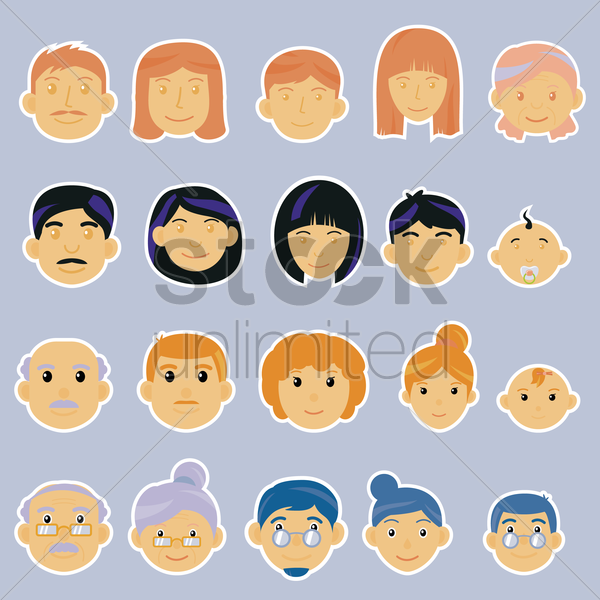 a family collection vector graphic