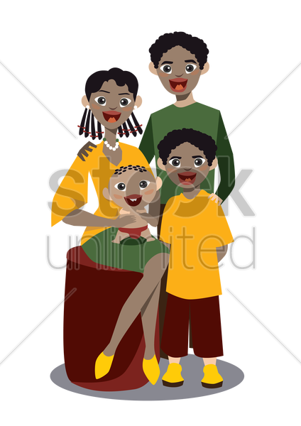 a family of four vector graphic