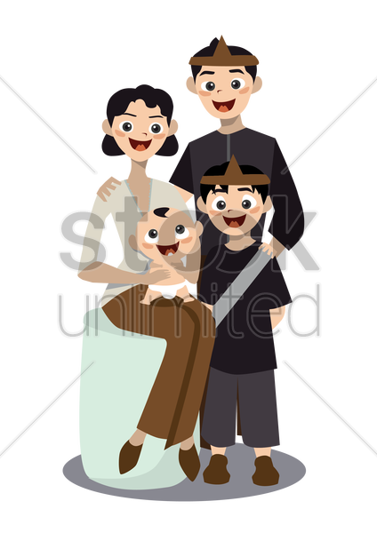 Free a family of four vector graphic