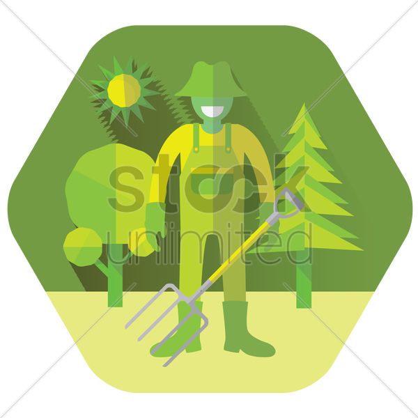 a farmer holding a pitchfork vector graphic