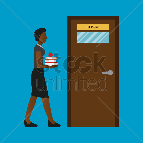 a female teacher heading to class vector graphic