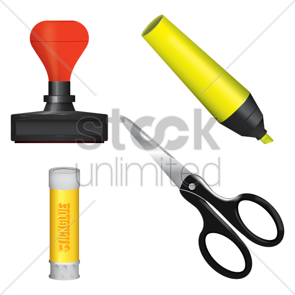 a few stationery items vector graphic