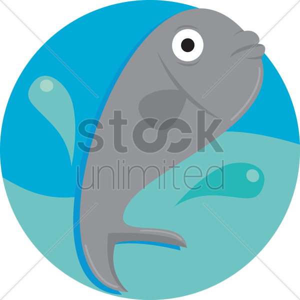a fish in water vector graphic