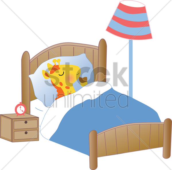a giraffe sleeping in bed vector graphic