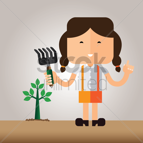 a girl doing gardening vector graphic