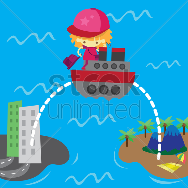 Free a girl going for a holiday riding a boat cruise vector graphic