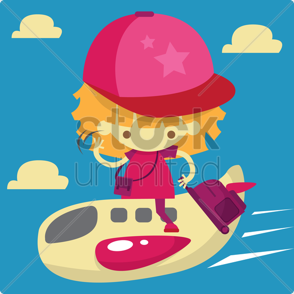 Free a girl going for a holiday riding a plane vector graphic