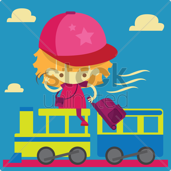 Free a girl going for a holiday riding a train vector graphic