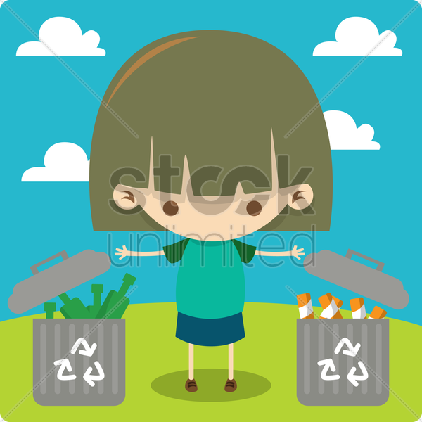 a girl recycling vector graphic