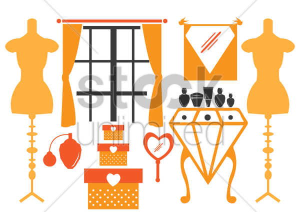 a girl's room vector graphic
