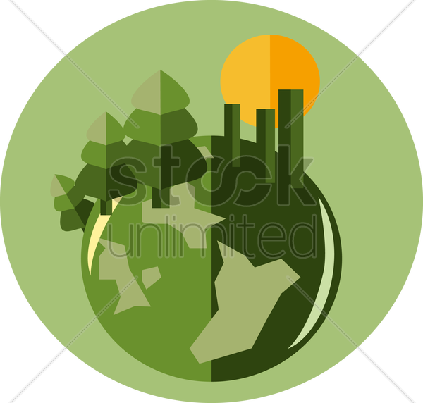 a globe with forest and buildings vector graphic