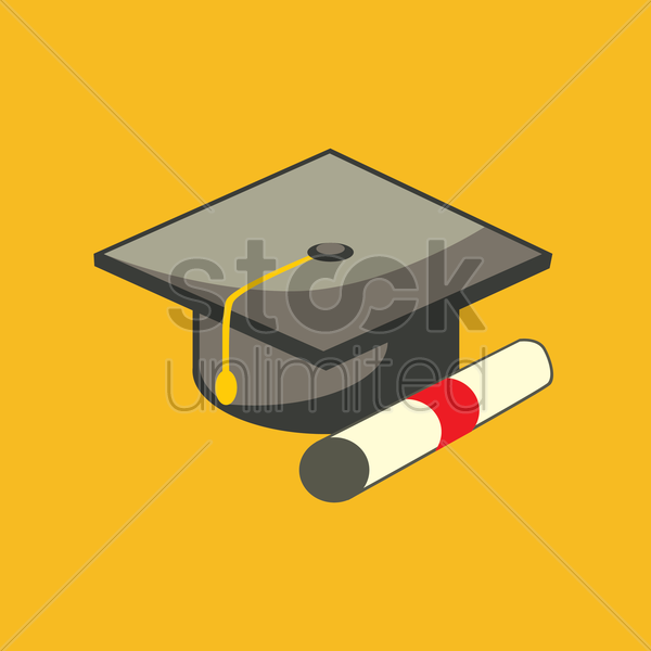 a graduation cap and scroll vector graphic