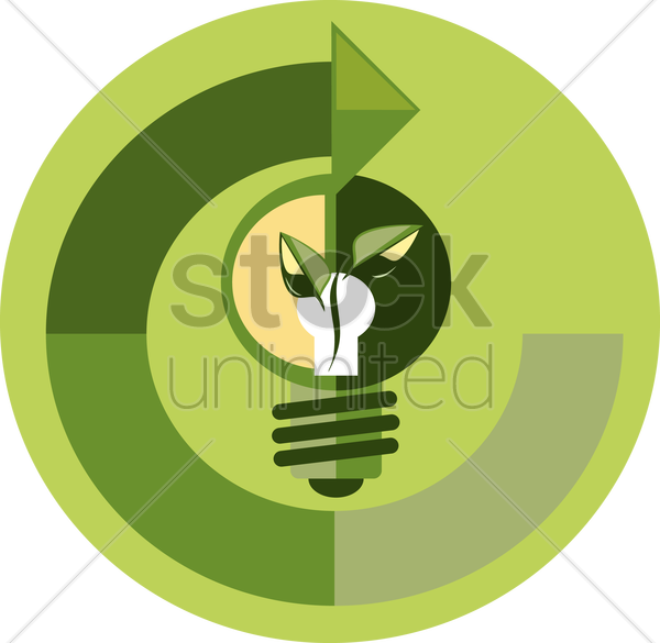Free a green lightbulb and arrow vector graphic