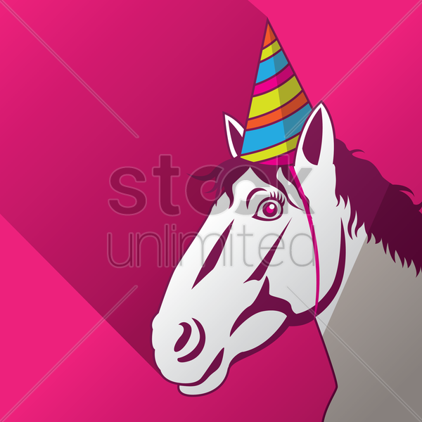 Horse Wearing a Party Hat