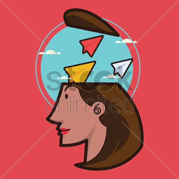 Free a lady's head with paper planes vector graphic