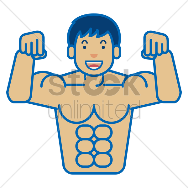 a man showing his six pack vector graphic
