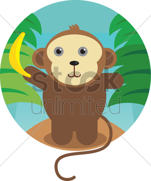 a monkey with banana vector graphic